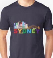 Sydney Australia Skyline Text Colorful Abstract Illustration T-Shirt