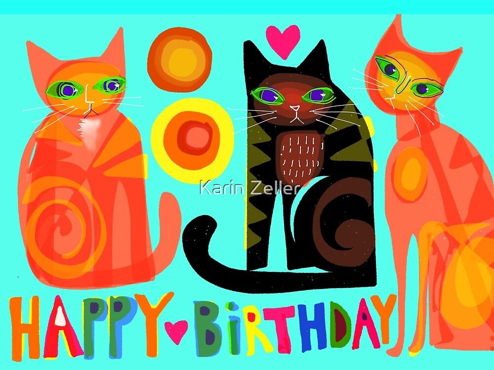 Happy Birthday Cats By Karin Zeller