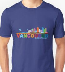 Vancouver BC Canada Skyline Text Color Illustration Unisex T-Shirt