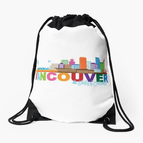 Vancouver BC Canada Skyline Text Color Illustration Drawstring Bag