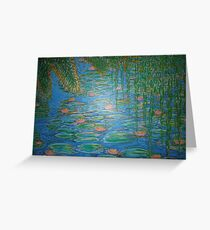 Waterlilies Under The Weeping Willow. Greeting Card