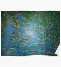 Waterlilies Under The Weeping Willow. Poster