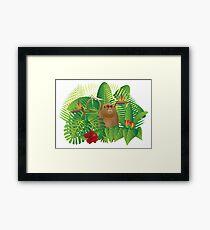 Tropical Rainforest  Jungle Monkey Illustration Framed Print