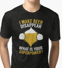 BEER SHIRT MY SUPERPOWER I LOVE BEER APPAREL Tri-blend T-Shirt