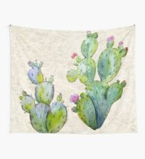 Blooming Watercolor Prickly Pear Cactus Wall Tapestry
