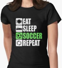 Eat Sleep Soccer Repeat Womens Fitted T-Shirt