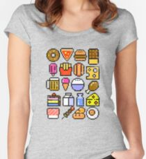 8 bit Foodie v2 Distressed Women's Fitted Scoop T-Shirt