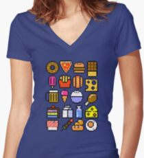 8 bit Foodie v2 Distressed Women's Fitted V-Neck T-Shirt