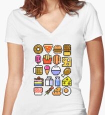 8 bit Foodie v2 Women's Fitted V-Neck T-Shirt