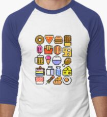 8 bit Foodie v2 Distressed Men's Baseball ¾ T-Shirt