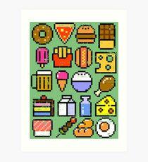 8 bit Foodie v2 Distressed Art Print