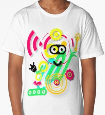 illustration. Hipster. Hand drawn Crazy doodle cute.  Long T-Shirt