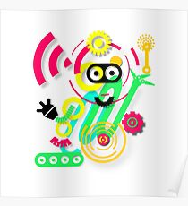 illustration. Hipster. Hand drawn Crazy doodle cute.  Poster
