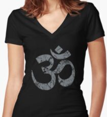 OM Yoga Spiritual Symbol in Distressed Style Women's Fitted V-Neck T-Shirt