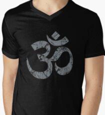 OM Yoga Spiritual Symbol in Distressed Style Men's V-Neck T-Shirt