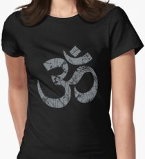 OM Yoga Spiritual Symbol in Distressed Style Women's Fitted T-Shirt