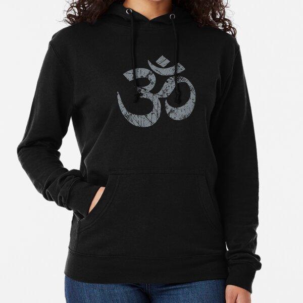 OM Yoga Spiritual Symbol in Distressed Style Lightweight Hoodie