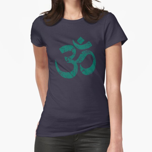 OM Yoga Spiritual Symbol in Distressed Style Fitted T-Shirt
