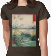 Summer  field  with Mt. Fuji Womens Fitted T-Shirt