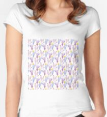 watercolor purple cactus seamless pattern Women's Fitted Scoop T-Shirt