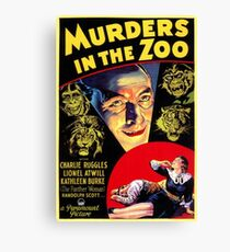 Murders in the Zoo, vintage horror movie poster Canvas Print