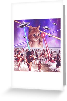 Cute cat invader from space attack people with laser and ufo on cute cat invader from space attack people with laser and ufo on earth by geekmerch m4hsunfo Choice Image