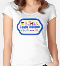 ❤↷I Love Animals-Animal Lovers↶❤ Women's Fitted Scoop T-Shirt