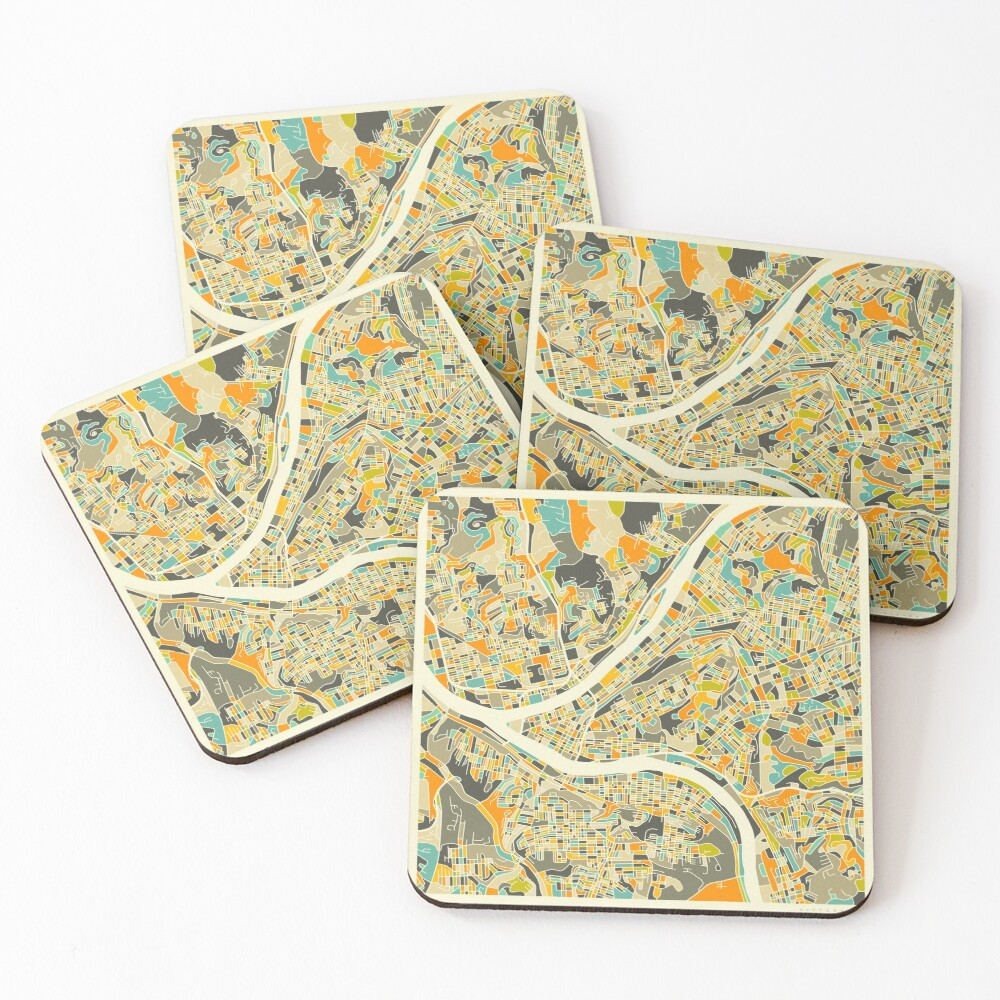 PITTSBURGH MAP Coasters (Set of 4)