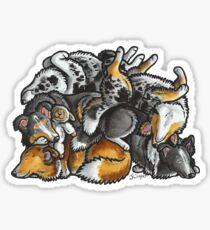 Sleeping pile of Shetland Sheepdogs Sticker