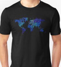 Blue worldmap over cool squares Unisex T-Shirt