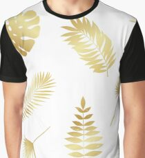 Summer golden tropical palm tree leaves Graphic T-Shirt
