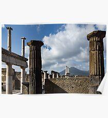Ancient Pompeii - the Forum Columns Framing Mount Vesuvius Volcano Poster