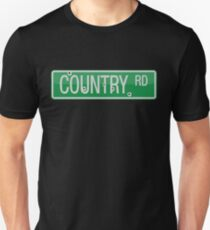 Country Road street sign with bullet holes Unisex T-Shirt