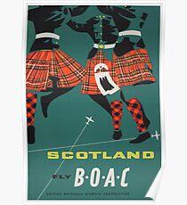 SCOTLAND FLY BOAC Poster