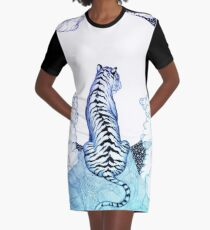 Ombre Tiger Moon Graphic T-Shirt Dress