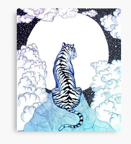 Ombre Tiger Moon Metal Print