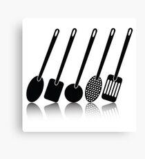kitchen utensil silhouettes Canvas Print