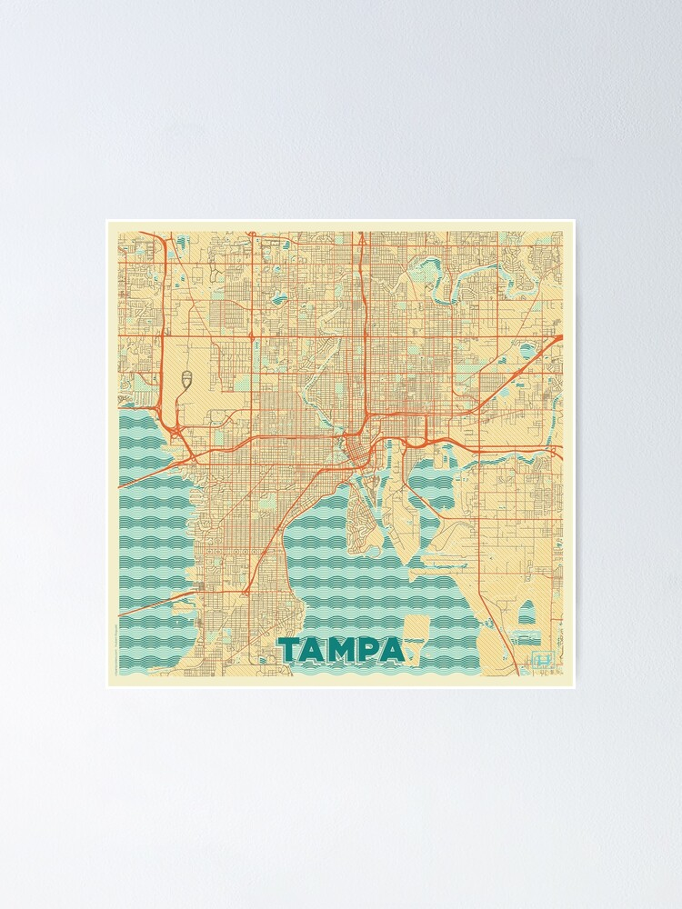 Alternate view of  Tampa Map Retro Poster