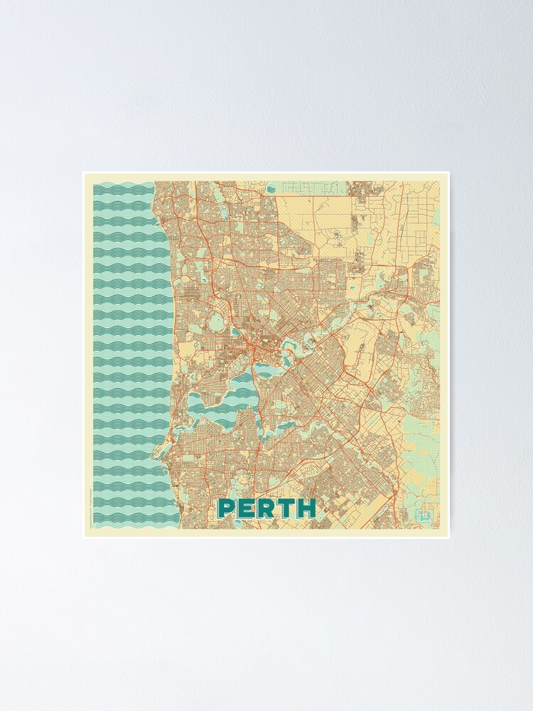 Alternate view of Perth Map Retro Poster