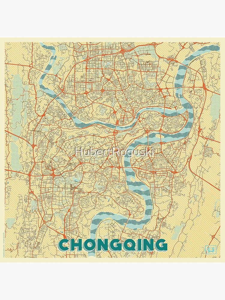 Chongqing Map Retro by HubertRoguski