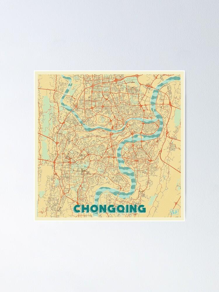 Alternate view of Chongqing Map Retro Poster
