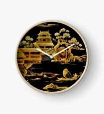 BLACK GOLD PAGODA GARDENS House of Harlequin Clock