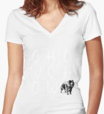 Chow Chow Design  Women's Fitted V-Neck T-Shirt