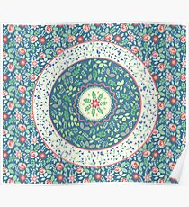 Teal Bohemian Folk Floral Pattern  Poster