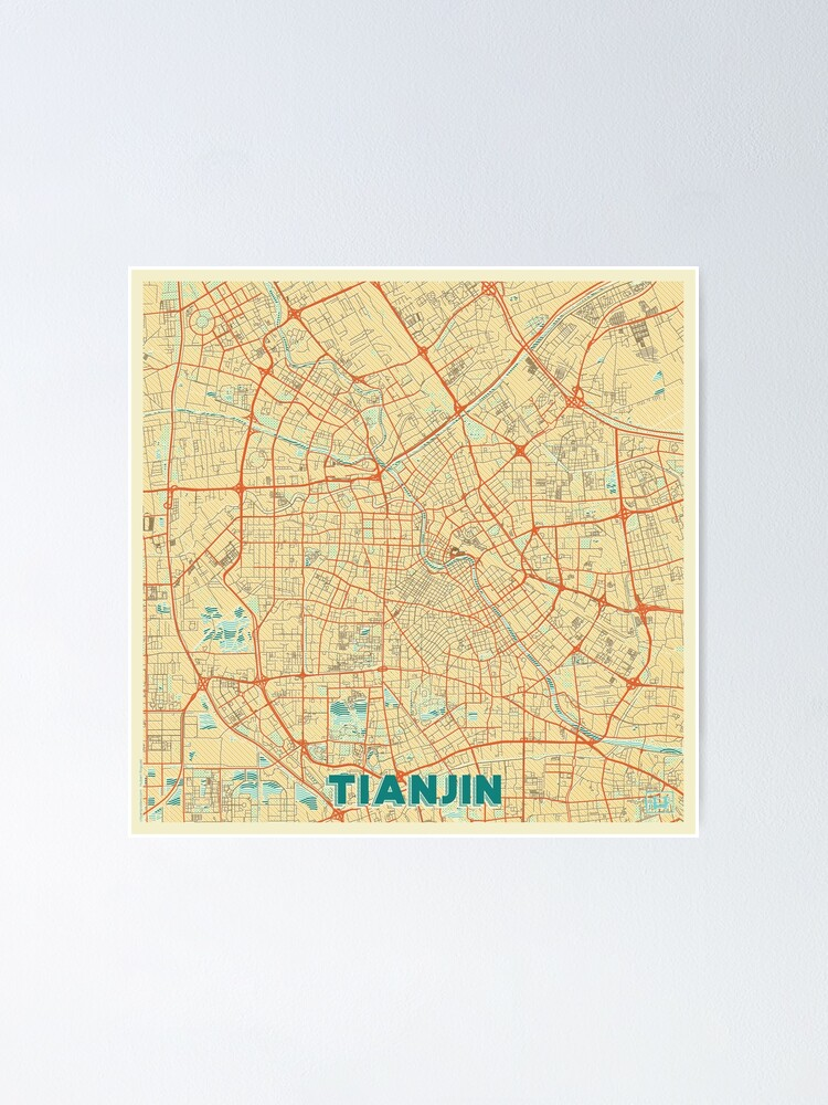 Alternate view of Tianjin Map Retro Poster