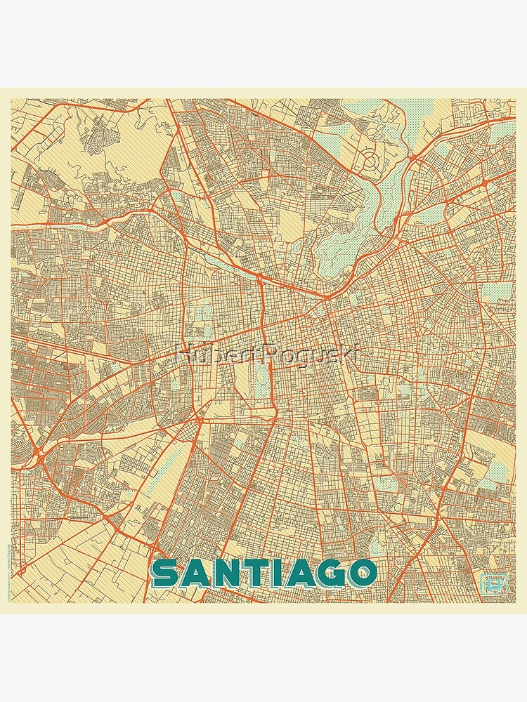 Santiago Map Retro by HubertRoguski