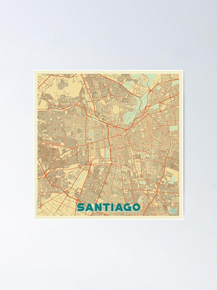 Alternate view of Santiago Map Retro Poster
