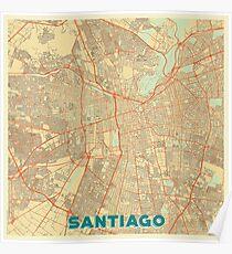Santiago Map Retro Poster
