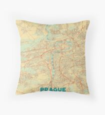 Prague Map Retro Throw Pillow
