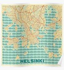 Helsinki Map Retro Poster
